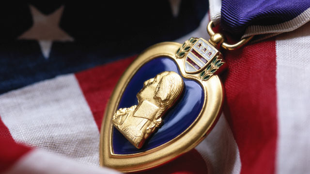 PHOTO: Purple Heart, a badge that symbolizes courage and patriotism and is awarded to U.S. soldiers killed or wounded in battle.