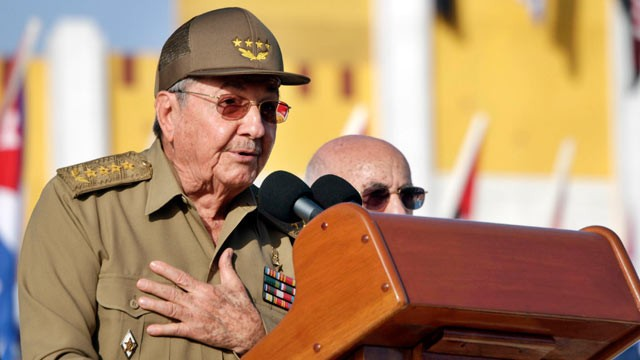 PHOTO: Cuban President Raul Castro speaks during an event to commemorate the 59th anniversary of the attack of the Moncada barracks that was led by Fidel Castro in 1953, July 12, 2012, in Guantanamo, Cuba.