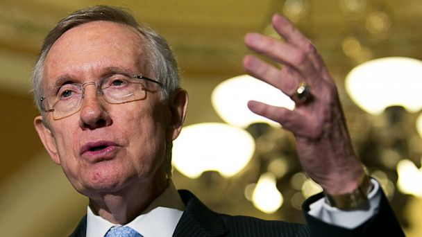 PHOTO: Senate Majority Leader Harry Reid, D-Nev.,) speaks during a press conference after meeting with fellow Democratic Senators, on Capitol Hill, July 9, 2013 in Washington, D.C.
