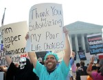 PHOTO: Anti-Obamacare protesters wear masks of U.S. President Barack Obama and Grim Reaper as they demonstrate in front of the U.S. Supreme Court, June 28, 2012 in Washington, DC.