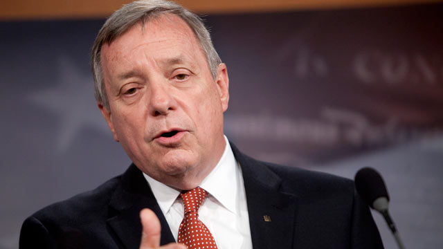 PHOTO: Senator Richard Durbin, a Democrat from Illinois, speaks during a news conference in Washington, D.C., U.S., June 30, 2011.