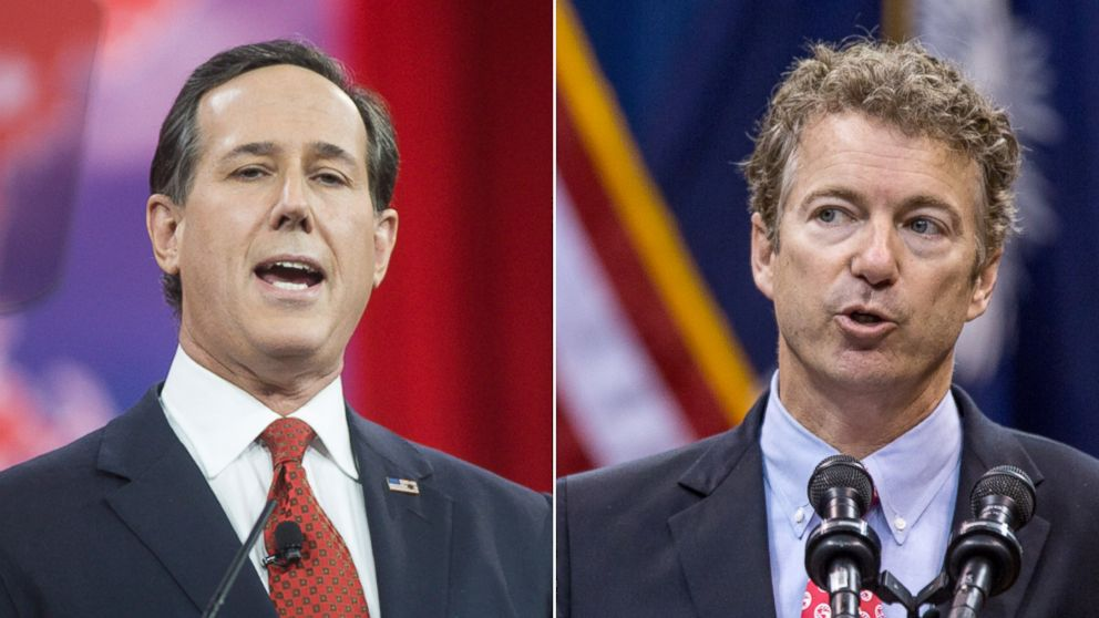 PHOTO: Rick Santorum, left, is pictured in National Harbor, Md., Feb.27, 2015. Rand Paul, right, is pictured in Charleston, S.C., November 12, 2013.