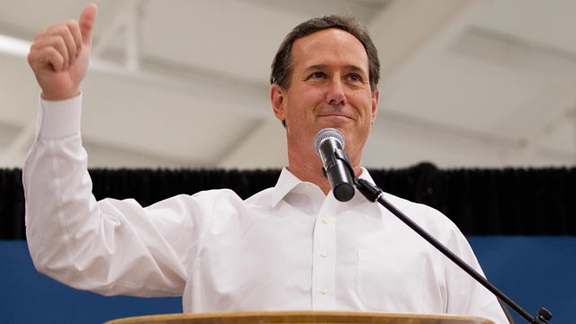 PHOTO: Republican presidential candidate, former U.S. Sen. Rick Santorum speaks during a rally March 10, 2012 at Digital Monitoring Products, a security and fire alarm manufacturing company in Springfield, Missouri.