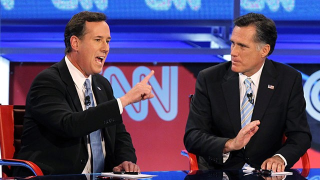PHOTO: Rick Santorum and Mitt Romney