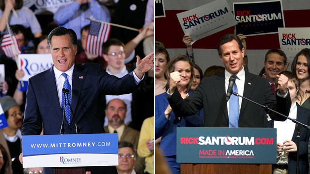 PHOTO: Republican presidential hopefuls Mitt Romney and Rick Santorum attend a Super Tuesday Republican primary elections rallies, March 6, 2012.