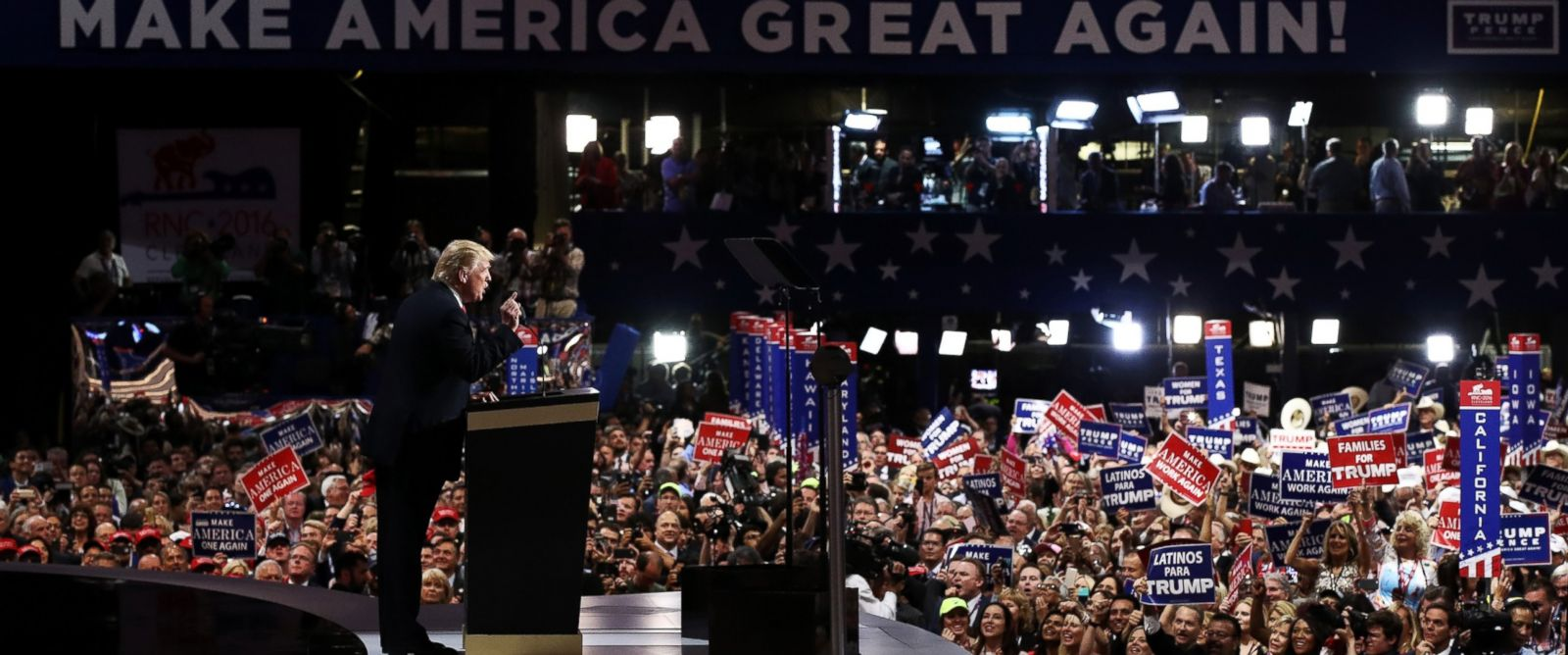 PHOTO: Republican presidential candidate Donald Trump delivers a speech after accepting the nomination on the fourth day of the Republican National Convention on July 21, 2016 in Cleveland.