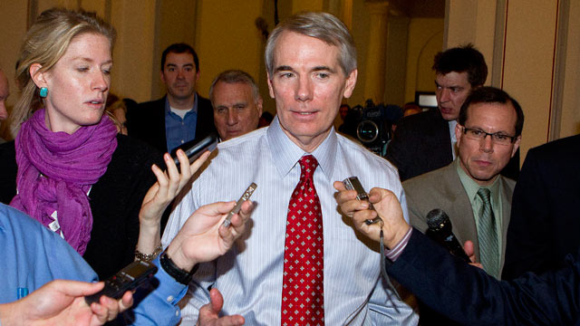 PHOTO: Senator Rob Portman, a Republican from Ohio, speaks to reporters following a meeting in Washington, D.C.