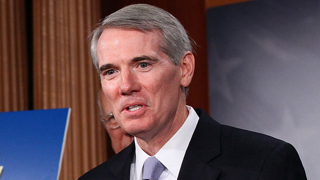 PHOTO: Sen. Rob Portman (R-OH) speaks during a press conference urging U.S. President Barack Obama to submit pending trade agreements to the U.S. Congress at the U.S. Capitol Sept. 7, 2011 in Washington, DC.