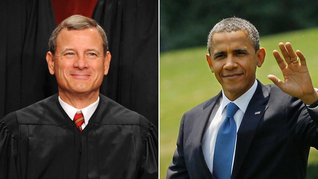 PHOTO: Chief Justice John Roberts smiles for the cameras as the nine members of the Supreme Court pose for a new group photograph October, 08, 2010 in Washington, DC.; President Barack Obama walks across the South Lawn before boarding Marine One and depar