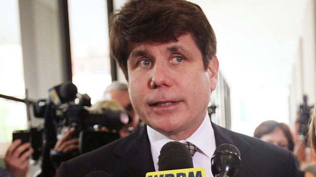 PHOTO: Former Illinois Governor Rod Blagojevich speaks to the media following a guilty verdict in his corruption retrial at the Dirksen Federal Courthouse, Chicago, Illinois, June 27, 2011.