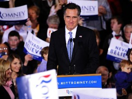 PHOTO: Mitt Romney addresses supporters at his Nevada caucus night victory celebration in Las Vegas in Las Vegas, Nevada, February 4, 2012.