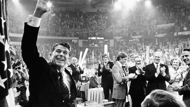 PHOTO: Ronald Reagan waves to the crowd on the final night of the Republican National Convention.