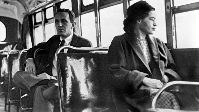 PHOTO: Rosa Parks seated toward the front of the bus, Montgomery, Alabama, 1956.