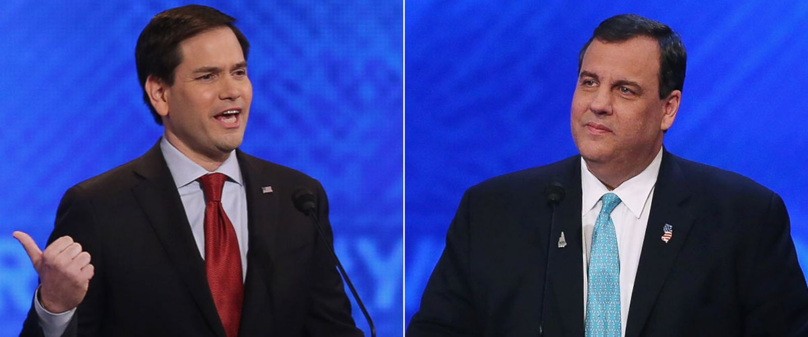 PHOTO: Republican presidential candidates Sen. Marco Rubio and Gov. Chris Christie participate in the Republican presidential debate at St. Anselm College on Feb. 6, 2016, in Manchester, New Hampshire.