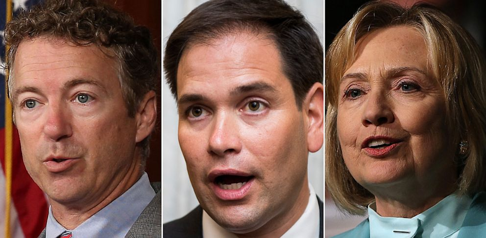 PHOTO: Left to right are Rand Paul, Marc Rubio and Hillary Clinton.