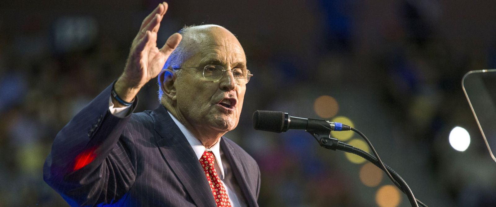 PHOTO: Rudy Giuliani speaks before introducing Republican Presidential candidate Donald Trump during a rally at the Pensacola Bay Center on September 9, 2016 in Pensacola, Florida.
