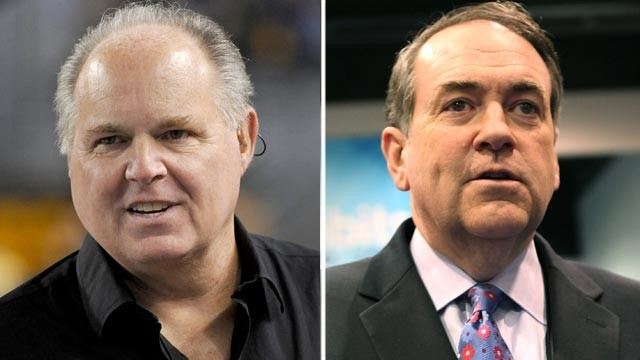 PHOTO: Rush Limbaugh, left, looks on from the sidelines at Heinz Field in this  Nov. 14, 2010 file photo. Mike Huckabee attends the 110th NAMM Show - Day 1 at the Anaheim Convention Center in this Jan. 19, 2012 file photo.