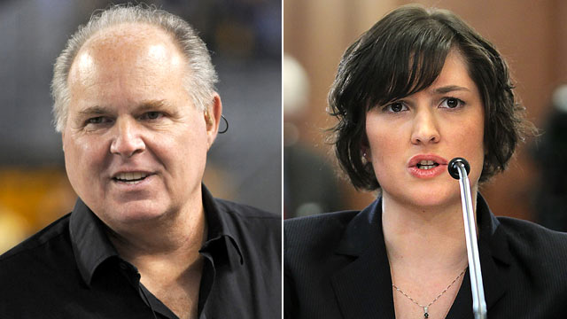 PHOTO: Political commentator Rush Limbaugh, left, and Sandra Fluke, a third-year law student at Georgetown University and former president of the Students for Reproductive Justice group there, are shown in these file photos.