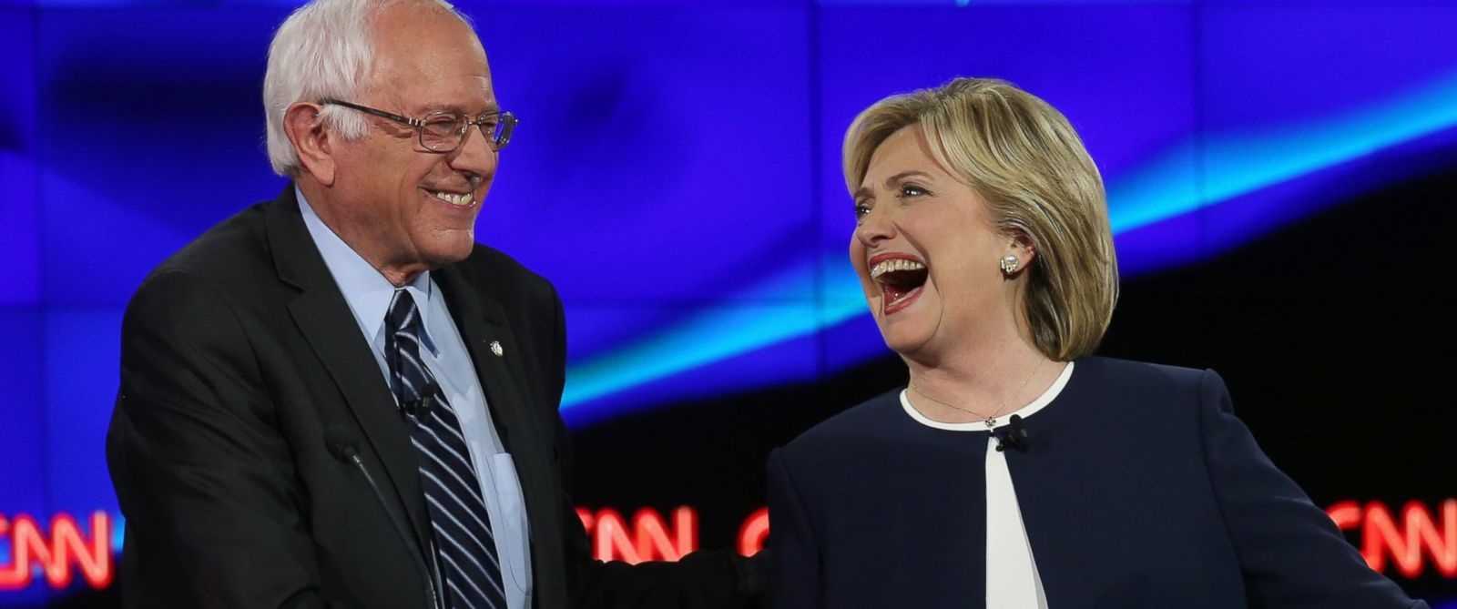 PHOTO: Democratic presidential candidates U.S. Sen. Bernie Sanders and Hillary Clinton take part in a presidential debate on CNN on Oct. 13, 2015 in Las Vegas.