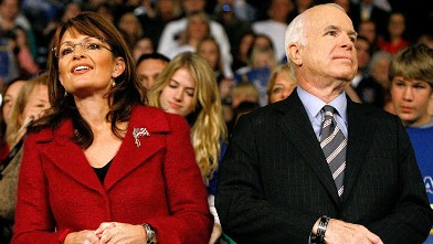 PHOTO: Sen. John McCain and his running mate, Alaska Governor Sarah Palin hold a campaign rally at the Giant Center, Oct. 28, 2008 in Hershey, Pennsylvania.