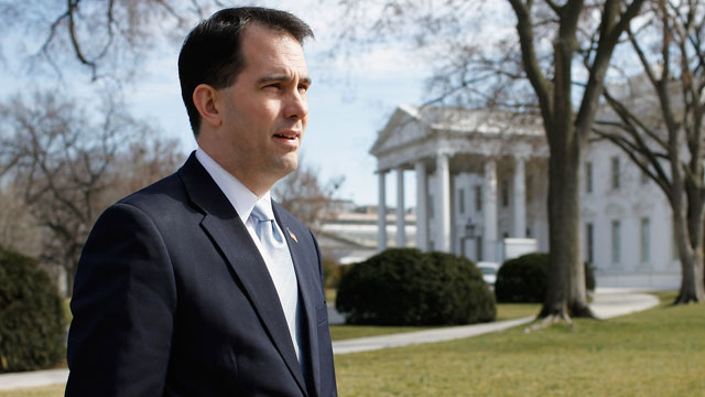 PHOTO: Wisconsin Gov. Scott Walker stands on the North Lawn of the White House in this Feb. 27, 2012 file photo.