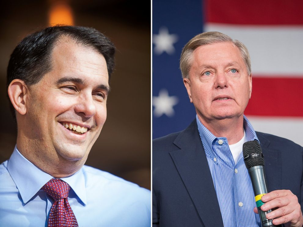 PHOTO: Wisconsin Governor Scott Walker is pictured in New Hampshire on July 16, 2015 and Lindsey Graham speaks in Iowa on Oct. 31, 2015.