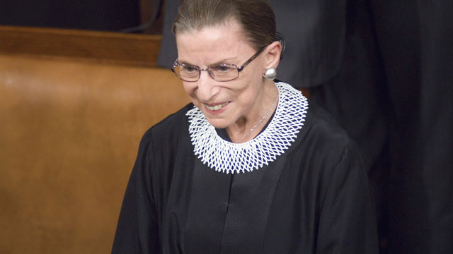 PHOTO: Supreme Court Justice Ruth Bader Ginsberg arrives in the House chamber before Barack Obama's first address to a joint session of the U.S. Congress.