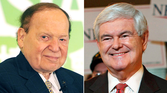 PHOTO: Sheldon Adelson, left, receives an award at a luncheon in Macau, June 8, 2011. Republican presidential candidate and former House Speaker Newt Gingrich takes part in a TV interview during a campaign event at the Grapevine Restaurant in Spartanburg,