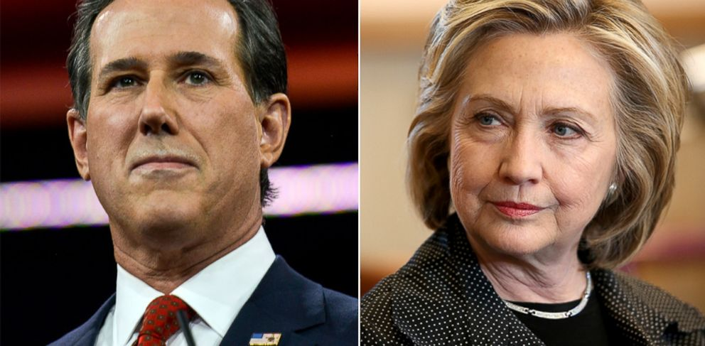 PHOTO: Rick Santorum, left, speaks during the CPAC2015, February 27, 2015, in Oxon Hill, Md. Hillary Clinton, right, hosts a small business forum at Bike Tech bicycle shop, May 19, 2015 in Cedar Falls, Iowa.