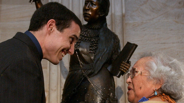 PHOTO: Artist Benjamin Victor, 26, is congratulated by Louise Tannheimer, 86, Quechan tribe, for his achievement in sculpting the statue of Sarah Winnemucca that was added to the Capitol's collection. Tannheimer is a decedent of Sarah Winnemucca.