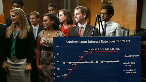PHOTO: Students participate in a news conference on student loans on Capitol Hill, June 6, 2013 in Washington, D.C.