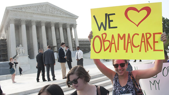PHOTO: Obamacare supporters outside Supreme Court