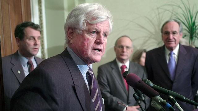 PHOTO: Sen. Edward M. Kennedy, D-Mass., speaks during a news conference in this undated file photo.