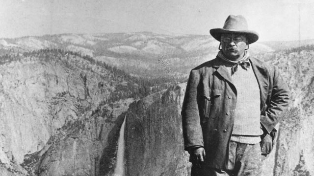 PHOTO: President Theodore Roosevelt poses for a portrait on Glacier Point, Yosemite Valley, Calif, May 1903.