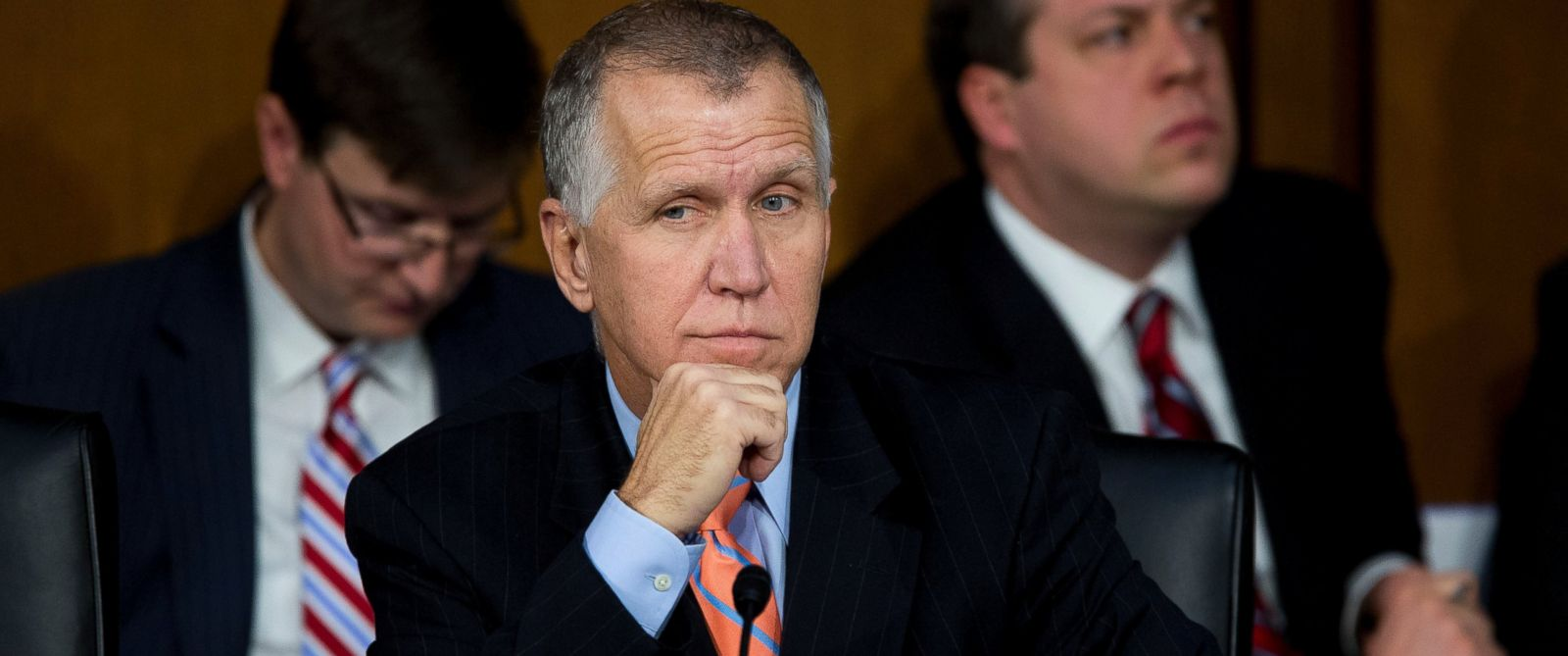 PHOTO: Sen. Thom Tillis, a Republican from North Carolina, listens during a Senate Judiciary Committee nomination hearing for Loretta Lynch in Washington, D.C. on Jan. 28, 2015.
