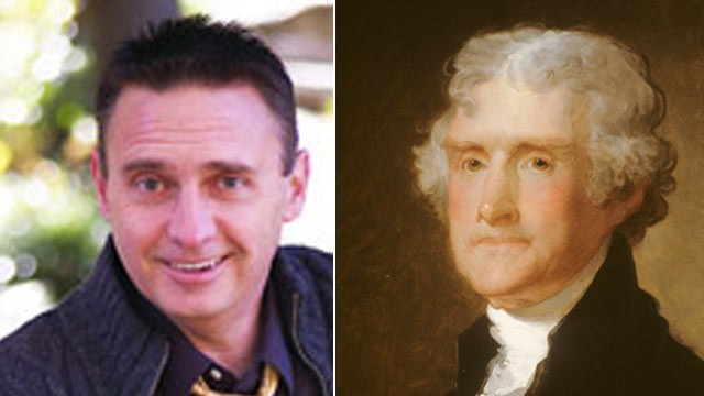 PHOTO: A Kansas man and self-proclaimed libertarian formerly named Jack Talbert, left, has legally changed his name to Thomas Jefferson, right, and is running for public office.