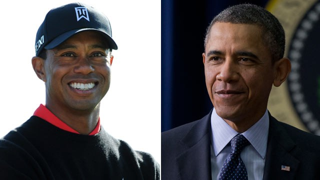 PHOTO: Tiger Woods smilies at Torrey Pines Golf Course, Jan. 28, 2013 in La Jolla, Calif.; U.S. President Barack Obama arrives at the Eisenhower Executive Building in Washington, D.C., Feb. 19, 2013.