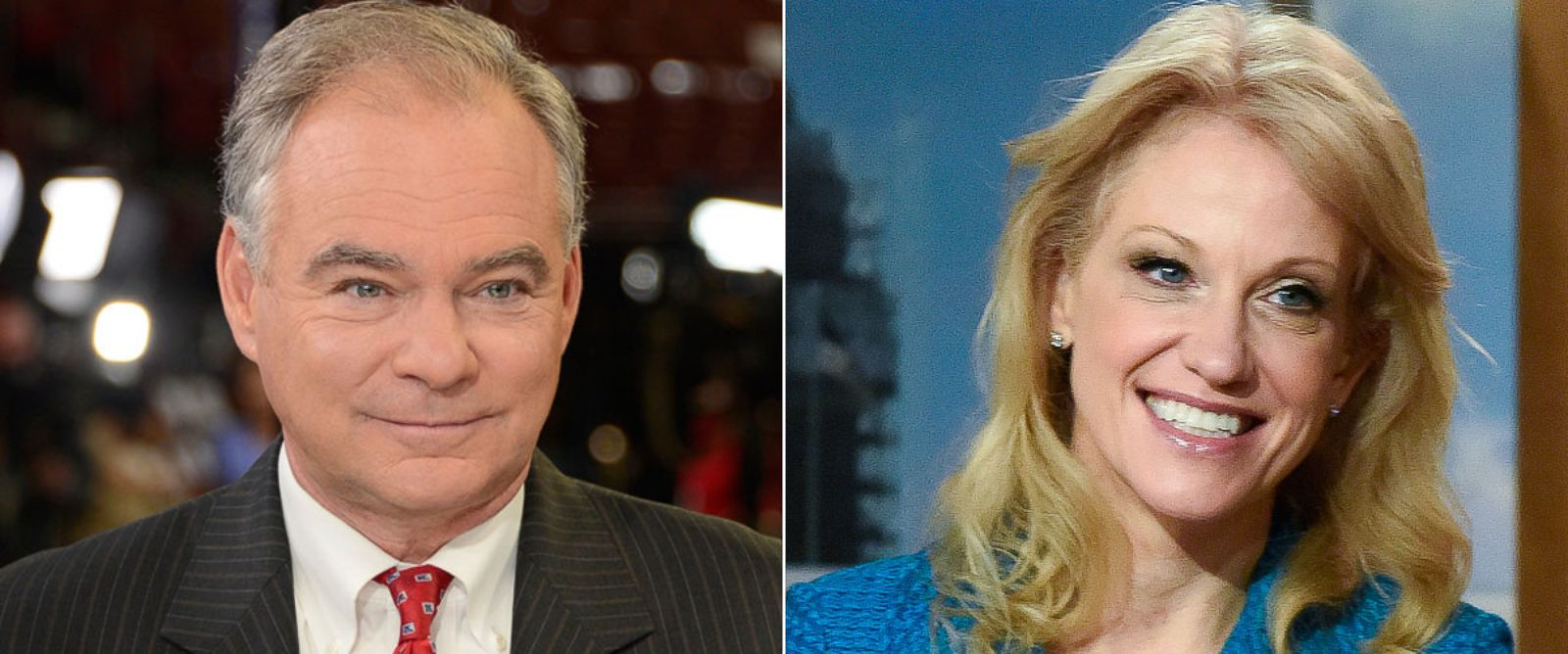"PHOTO: Tim Kaine, left, and Kellyanne Conway to appear on ""This Week."""