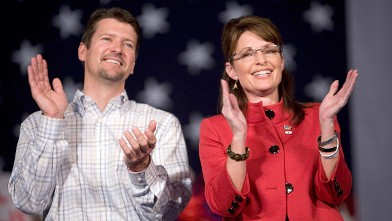 PHOTO: Gov. Sarah Palin of Alaska speaks at a campaign rally with her husband Todd Palin at the Grand River Center Nov. 3, 2008 in Dubuque, Iowa.