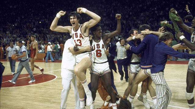 PHOTO: The US basketball team prematurely erupting with celebration at the Summer Olympics. The official ordered three seconds replayed and the Soviets scored defeating the US.