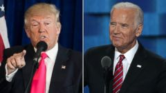 PHOTO: Donald Trump speaks during a news conference at Trump National Doral, July 27, 2016, in Doral, Florida.Joe Biden delivers remarks on the third day of the Democratic National Convention, July 27, 2016 in Philadelphia, Pennsylvania.
