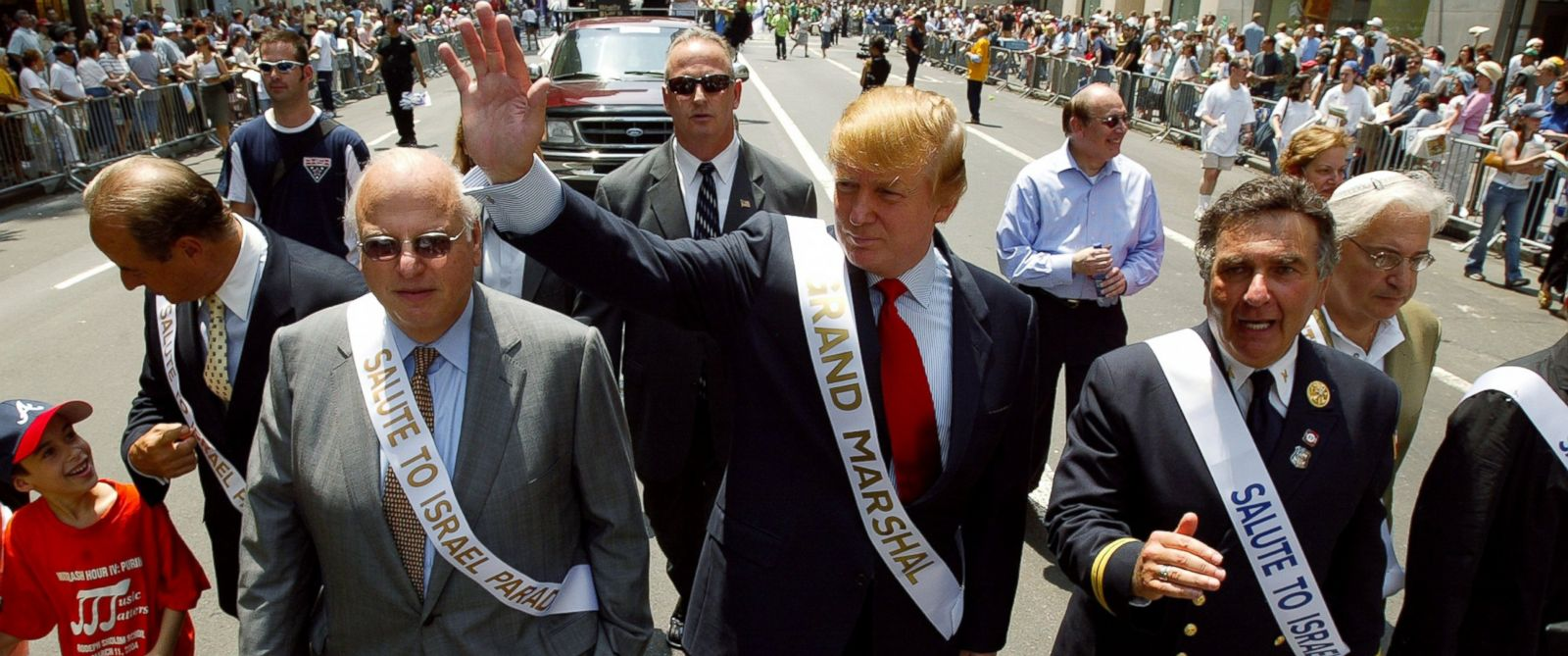 PHOTO: Grand Marshal Donald Trump marches in the Salute to Israel Parade on Fifth Ave., May 23, 2004.