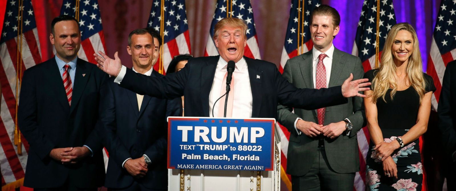 PHOTO: Republican presidential candidate Donald Trump addresses the media following victory in the Florida state primary on March 15, 2016 in West Palm Beach, Florida.