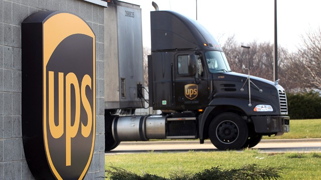 PHOTO: In this Dec. 19, 2011 file photo, a UPS truck departs on a delivery in Hodgkins, Ill.