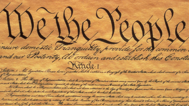 "PHOTO: The Preamble to the US Constitution starts with the phrase ""We The People"" and shows only some of the writing from"