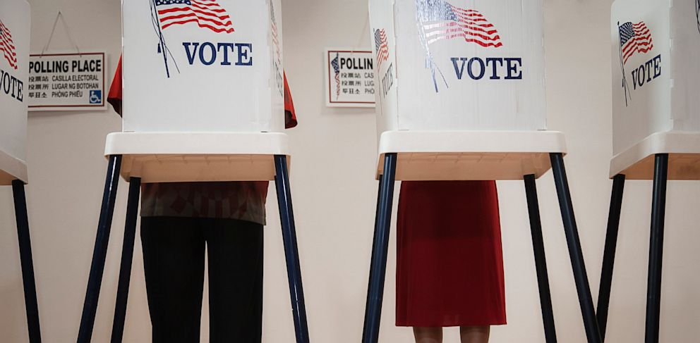 PHOTO: Voters voting in polling place