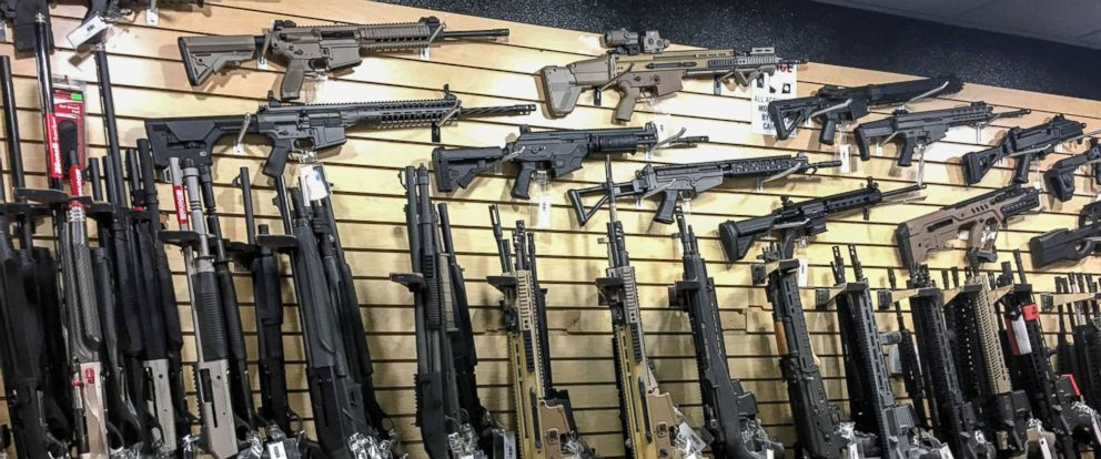 PHOTO: Semi-automatic rifles are seen for sale in a gun shop in Las Vegas, Oct. 4, 2017.