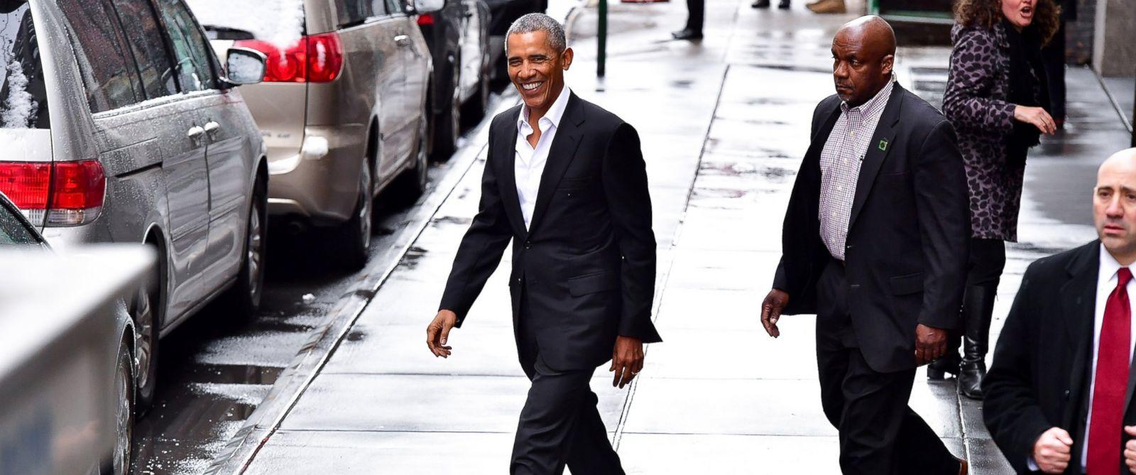 PHOTO: Barack Obama leaves Upland restaurant on March 10, 2017 in New York City.