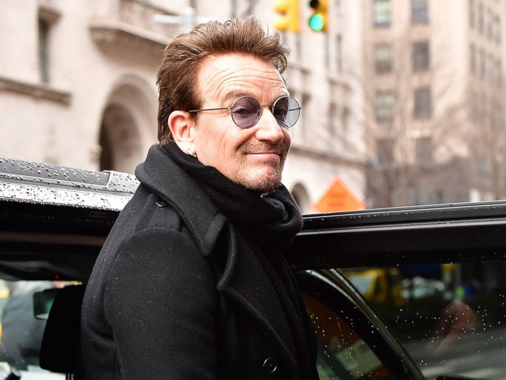 PHOTO: Bono leaves Upland restaurant on March 10, 2017 in New York City.