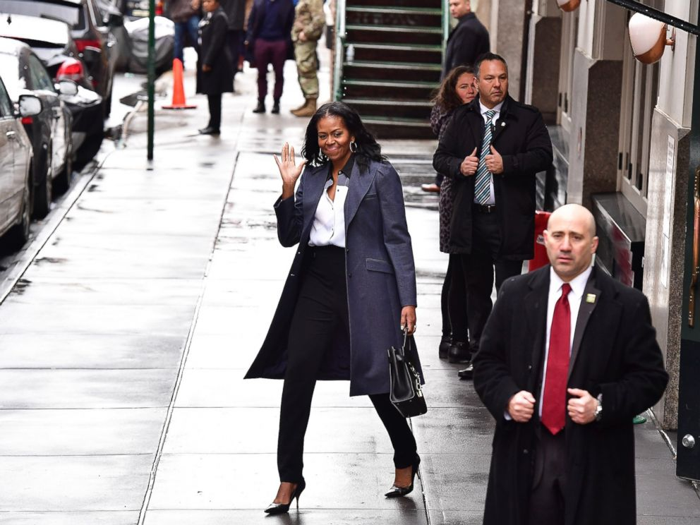 PHOTO: Michelle Obama leaves Upland restaurant on March 10, 2017 in New York City.